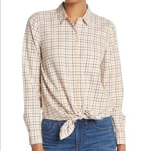 Madewell Tie-Front Cropped Shirt in Rainbow Plaid